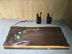 黑檀 年年有鱼 实木茶盘 81-37-5 15307-2912彩雕荷叶鱼