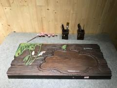 黑檀 年年有鱼 实木茶盘 84-38-5 15705-2915彩雕荷叶鱼