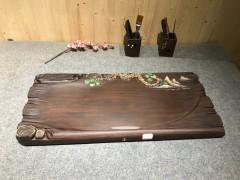 黑檀实木茶盘 73-33-5 14307-2914彩雕松树