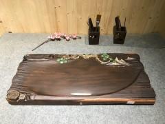 黑檀实木茶盘 73-33-5 14307-2911彩雕松树
