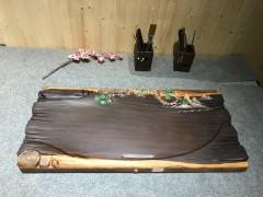 黑檀 实木茶盘 72-33-5 14307-2907彩雕松树