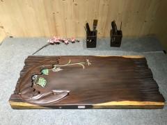 黑檀 年年有鱼 实木茶盘 81-36-5 15207-2907彩雕荷叶鱼