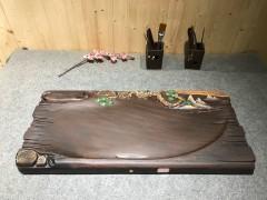 黑檀 实木茶盘 74-33-5 14407-2909彩雕松树