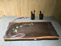 黑檀 年年有鱼 实木茶盘 82-37-5 15407-2910彩雕荷叶鱼