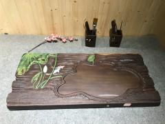 黑檀 年年有鱼 实木茶盘 79-36-5 15107-2913彩雕荷叶鱼